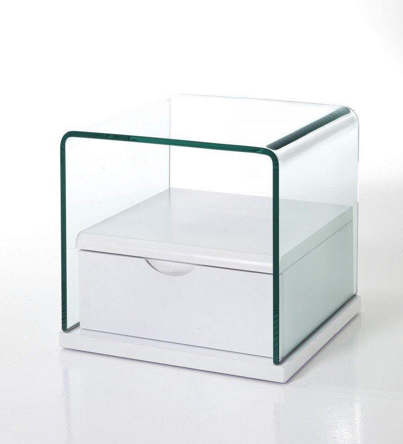 Comodino con cassetto in vetro e laccato bianco - Comodini in vetro camera da letto ...