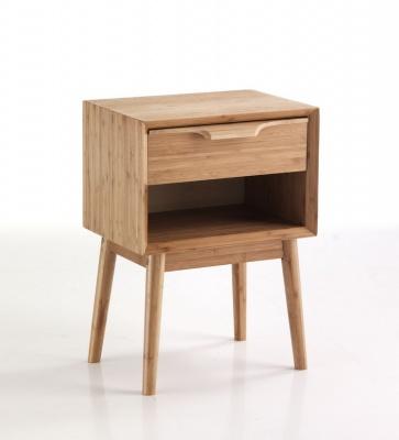 Comodino o tavolino con cassetto in legno di bamboo - Tavolino comodino ...