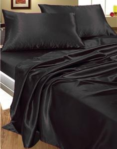 Completo letto matrimoniale raso copripiumino nero - Completo letto matrimoniale seta ...
