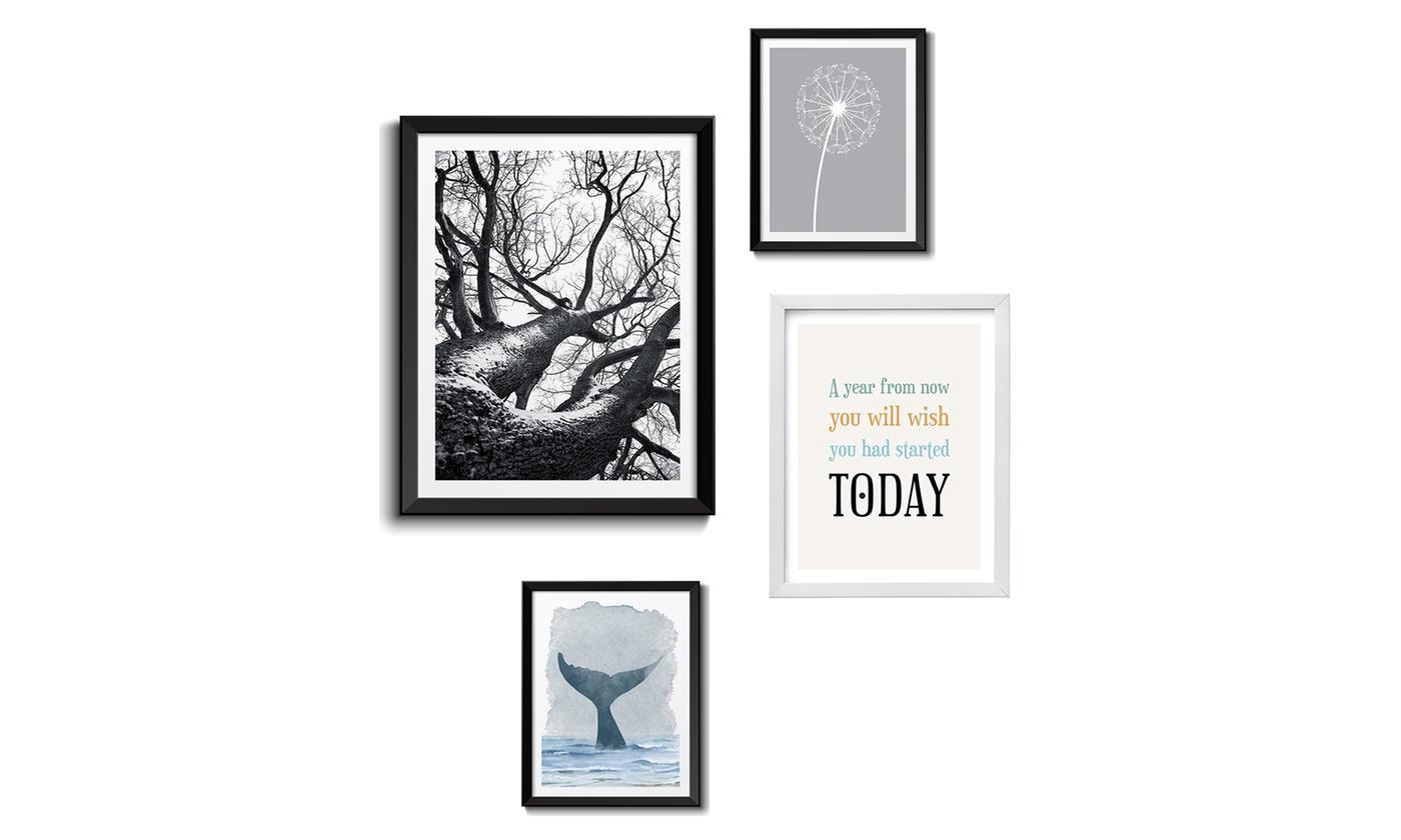 Composizione di 4 quadri moderni con Cornici Bianche e Nere