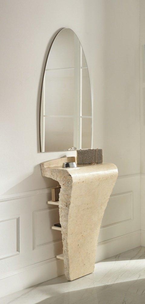 Consolle mobile per ingresso completo di specchio in pietra fossile - Consolle con specchio per ingresso ...