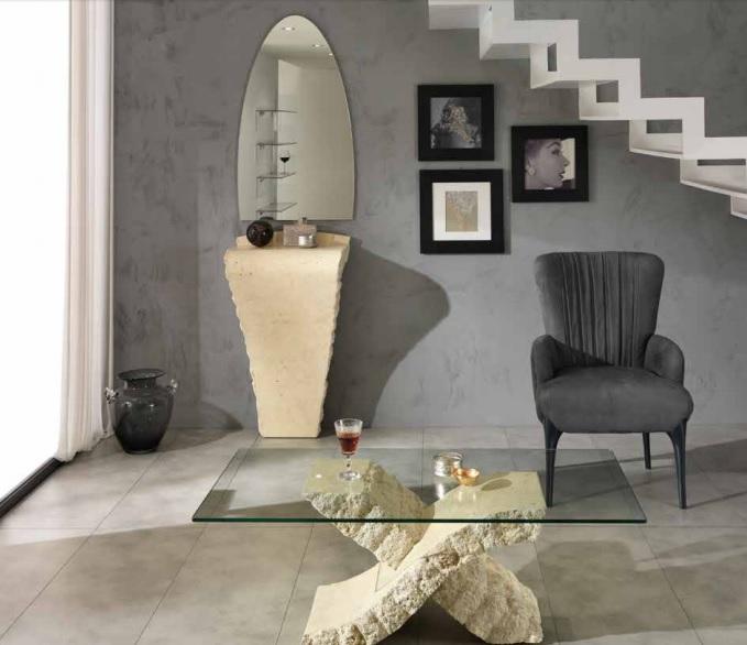 Consolle Mobile per Ingresso Completo di specchio in Pietra fossile