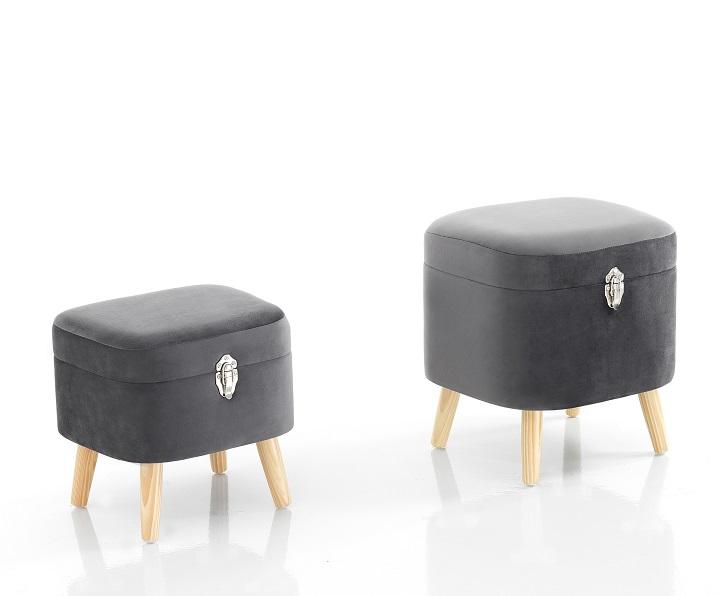 Coppia di pouf contenitore grigi a forma di beauty case