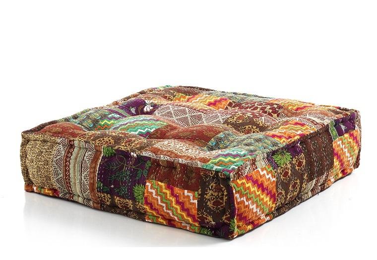 Cuscino da seduta pouf quadrato fantasia patchwork