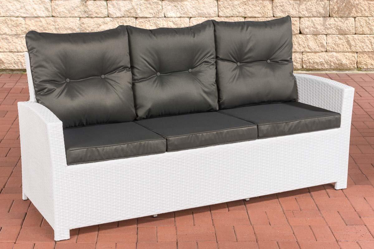 Cuscini Da Esterno Impermeabili divano 3 posti da esterno in polyrattan con cuscini antracite