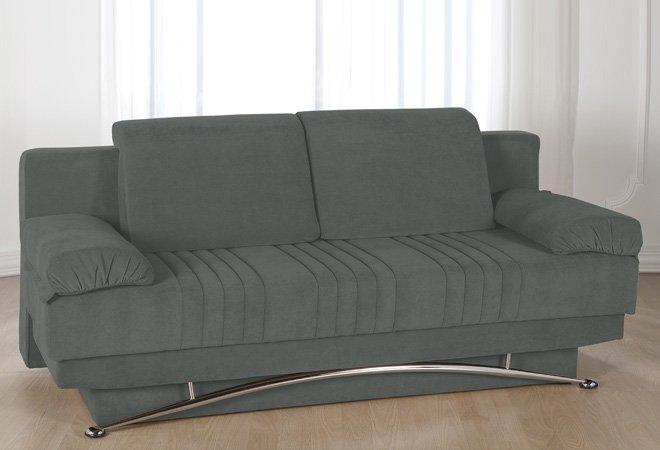 Divano letto 3 posti francese in microfibra grigio chiaro - Microfibra divano ...