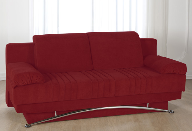 Divano letto 3 posti francese in microfibra rosso - Divano letto angolare rosso ...