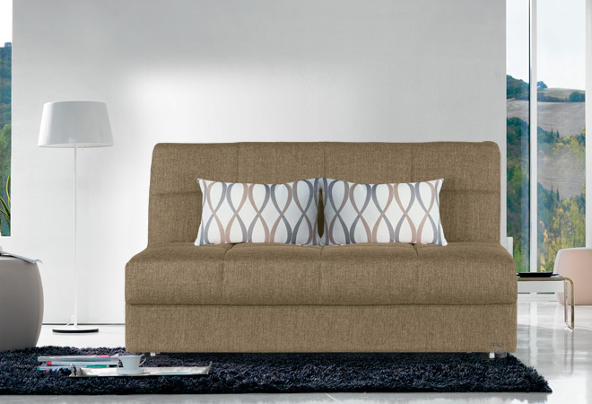 Divano doppio letto singolo con reti a doghe e materassi - Letto con cuscini ...