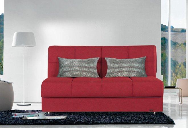 Divano Rosso Cuscini : Divano letto matrimoniale rosso con cuscini fantasia