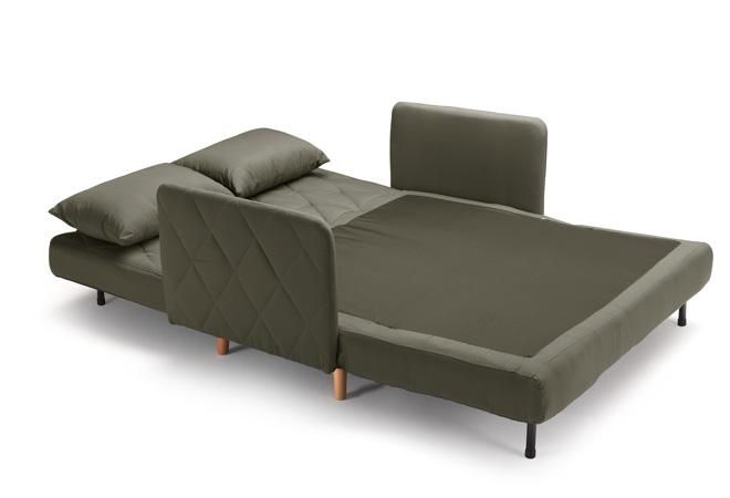 divano letto piazza e mezza con 2 cuscini grigio