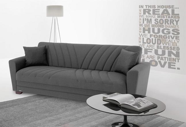 divano letto con contenitore e cuscini grigio - Divano Letto Matrimoniale Contenitore