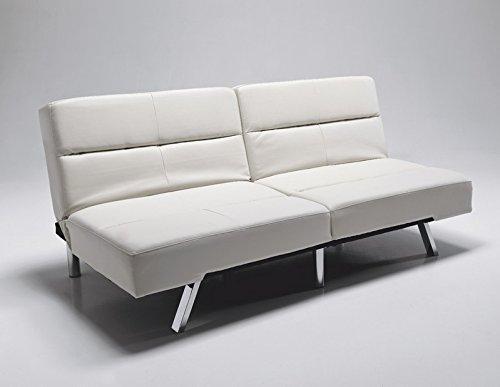 Divano letto moderno in pelle ecologica crema - Divano letto in pelle ...