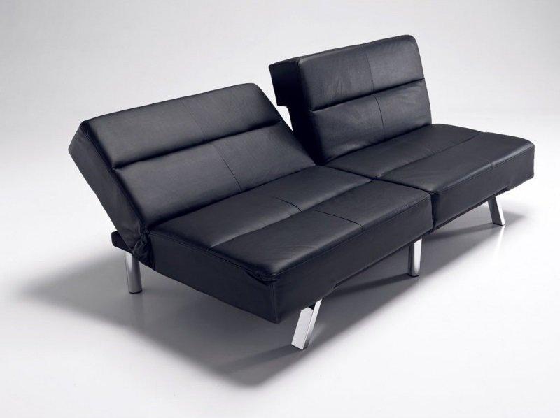 Divano letto moderno in pelle ecologica nero for Divani letti moderni