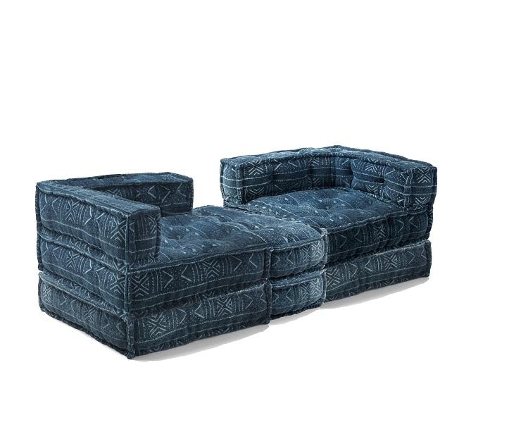 Divano trasformabile in letto cucito a mano con pouf blu