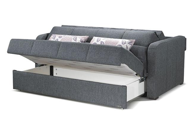 Divano letto grey con vano contenitore e cuscini
