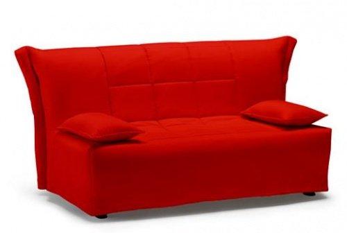 Divano letto large colore rosso trapunta e cuscini for Piccolo divano letto