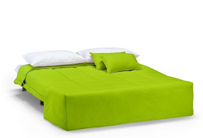 Divano Verde: Divano letto verde alcantara pelle.