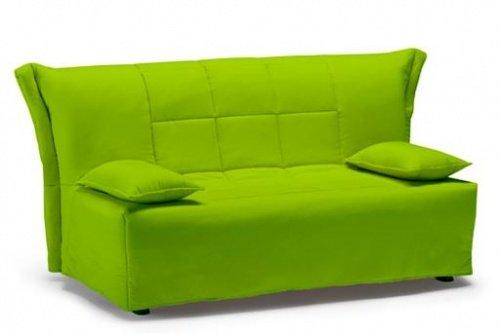 Divano letto large colore rosso trapunta e cuscini - Divano verde acido ...