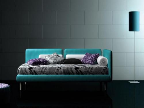 Divano letto moderno in pelle ecologica nero - Divani letto con doghe ...