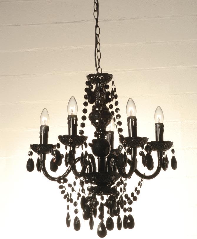 lampadario nero : Lampadario 5 Luci con Gocce Colore Nero
