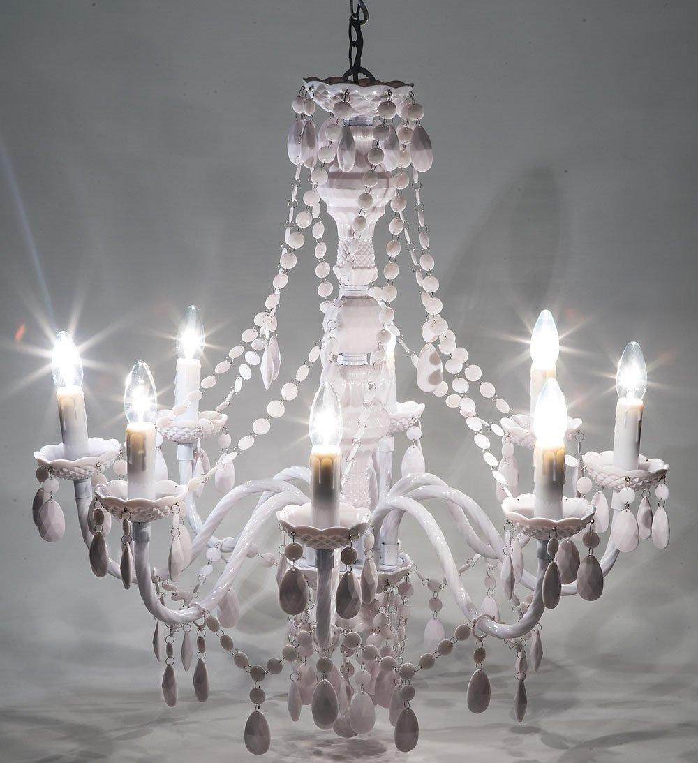Lampadario 8 Luci con Gocce Colore Bianco