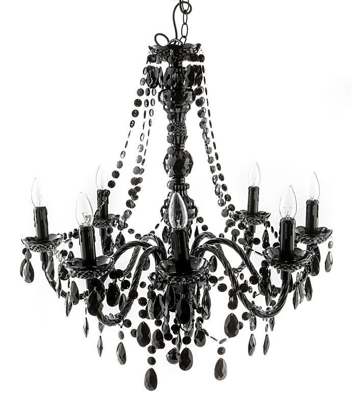 lampadario nero : Lampadario 8 Luci con Gocce Colore Nero