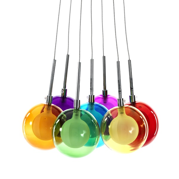 Lampadario Sospensione Ball Colors 7 Luci in Vetro
