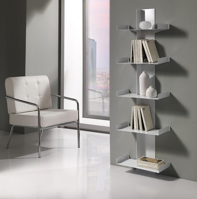 Libreria porta cd dvd bianca da muro con 5 ripiani for Libreria a muro bianca