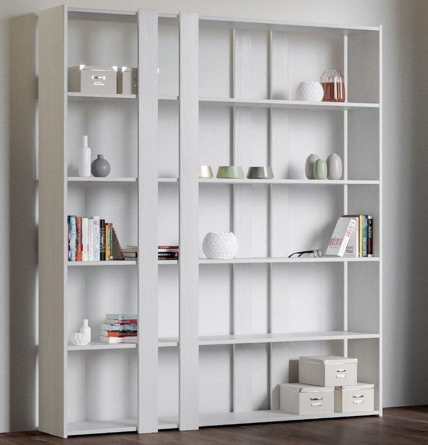 Scaffali Libreria Bianchi.Libreria Scaffale Parete Attrezzata Bianco Frassino Moderna