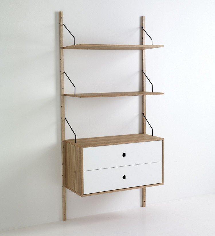 Libreria scaffale da parete in legno con 2 cassetti for Scaffali libreria in legno
