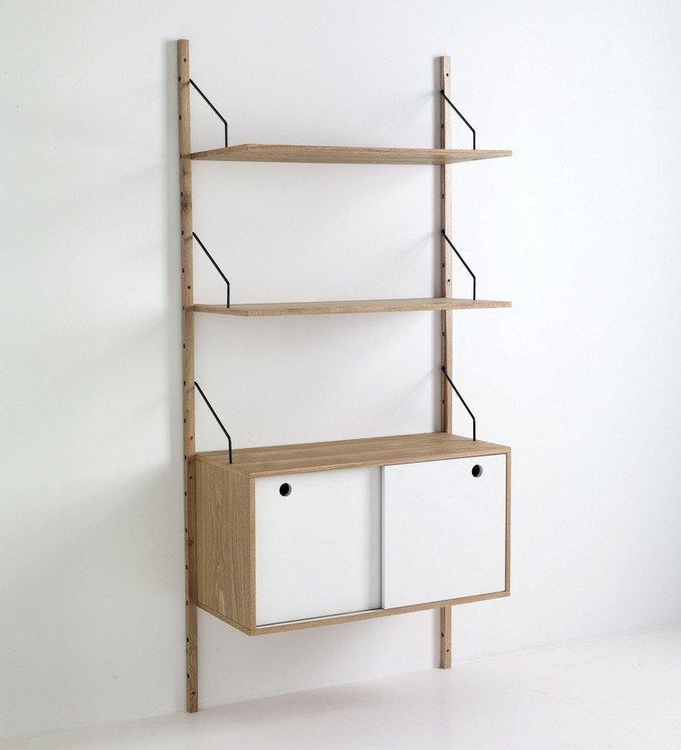 Libreria scaffale da parete in legno con ante scorrevoli