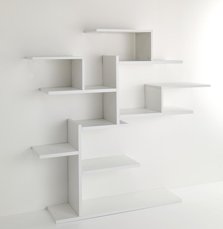 Libreria da parete moderna asimmetrica bianco ebay for Ikea mensole da muro