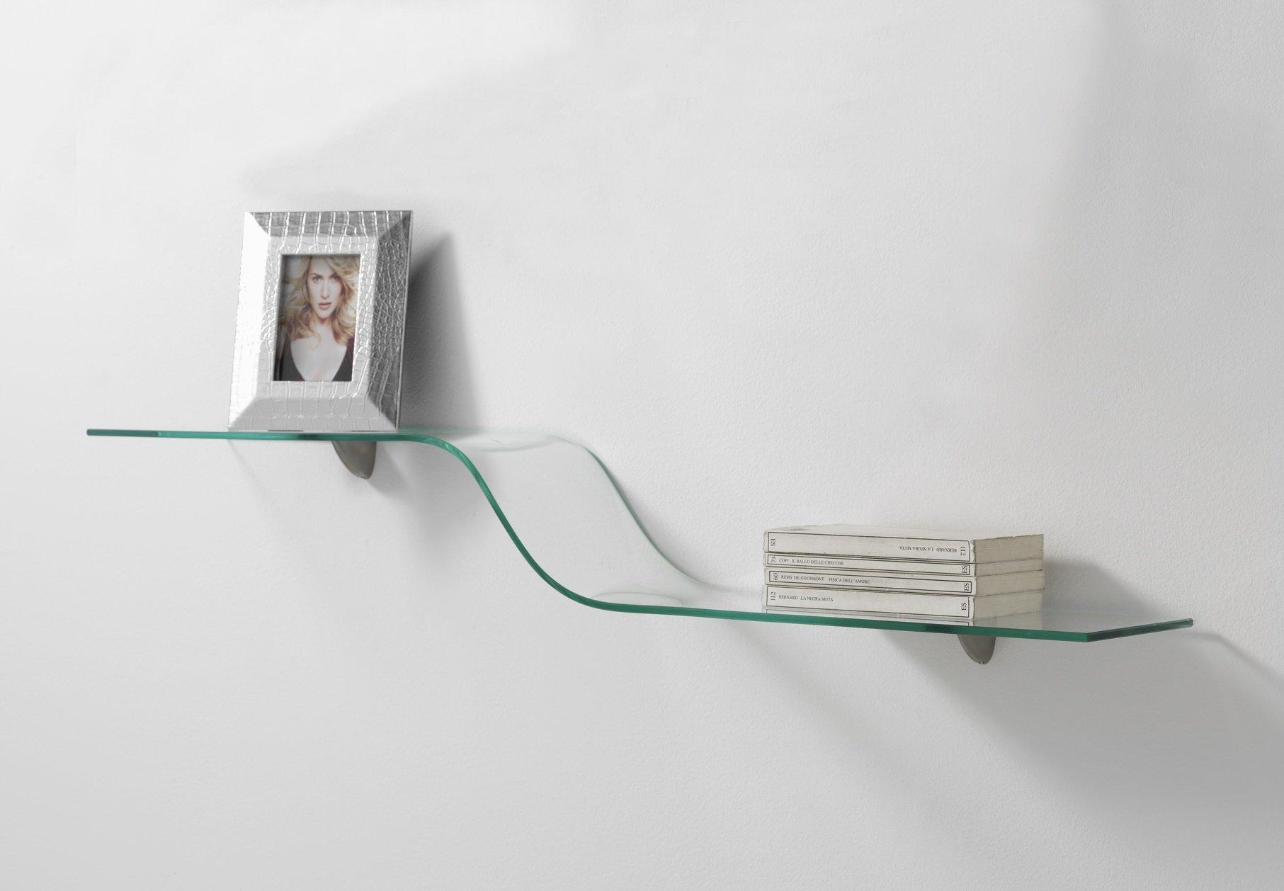 Mensola da muro in vetro semplice con reggimensola