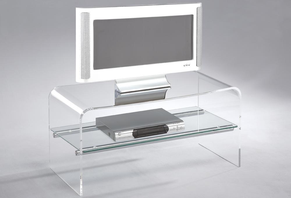 Mobile Porta Tv trasparente con ripiano a giorno