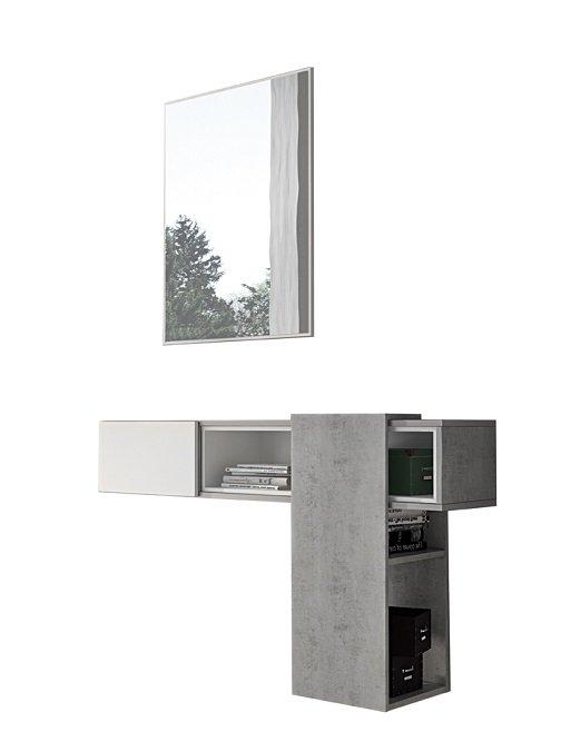 Mobile Con Gli Specchi.Mobile Da Ingresso Entratina Colore Bianco E Cemento Con Specchio