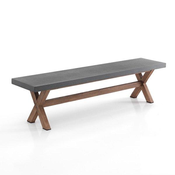 Panca 180 cm effetto cemento e legno di acacia interno esterno - Panca da interno ...