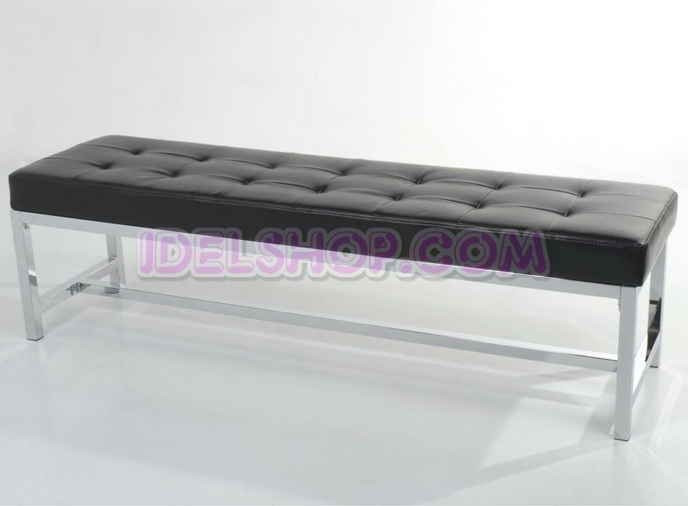 Panca moderna capitonn cromo e ecopelle nero ebay - Panca per bagno ...