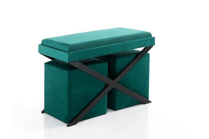 Pouf Con Tavolino.Panca Con Vassoio Tavolino E 2 Pouf Verde Petrolio