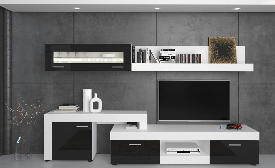 Parete soggiorno con porta tv vetrina e mensola nero e bianco