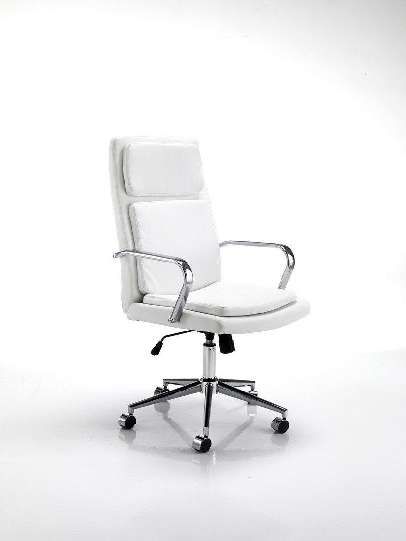 Poltrona Direzionale per Ufficio Pelle Sintetica Colore Bianco