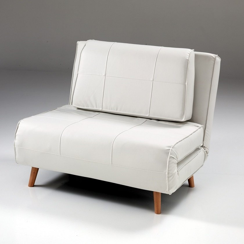 Poltrona letto white in ecopelle con cuscino ebay for Poltrona letto ebay