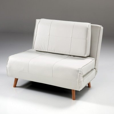 Poltrona Letto White in  Ecopelle con Cuscino