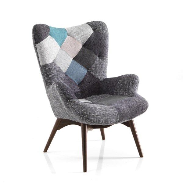 Poltrona moderna particolare patchwork attesa grigio - Poltrone da camera da letto ...