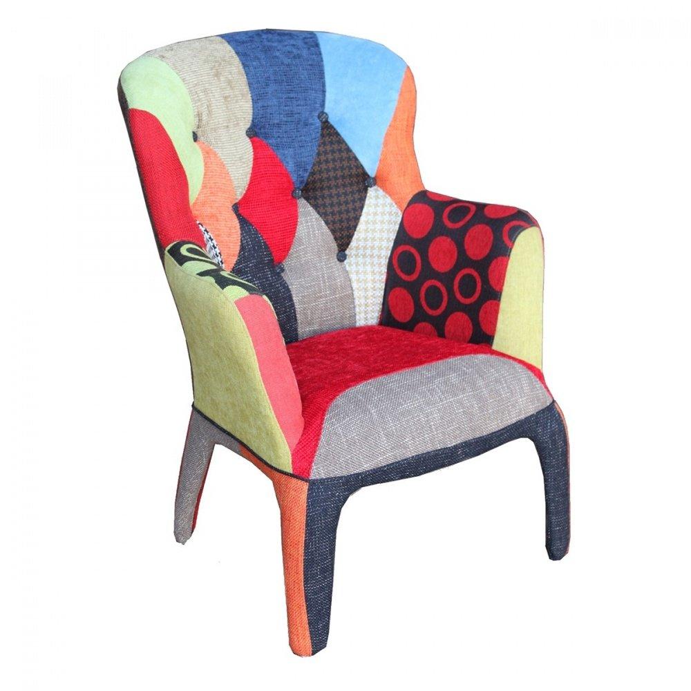 Panchetta moderna in tessuto patchwork con braccioli for Poltrone moderne