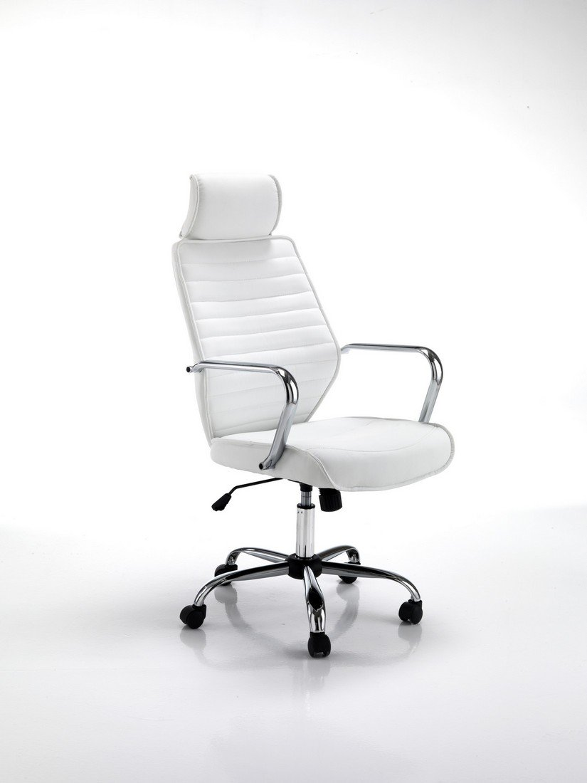Poltrona Presidenziale per Ufficio Pelle Sintetica Colore Bianco