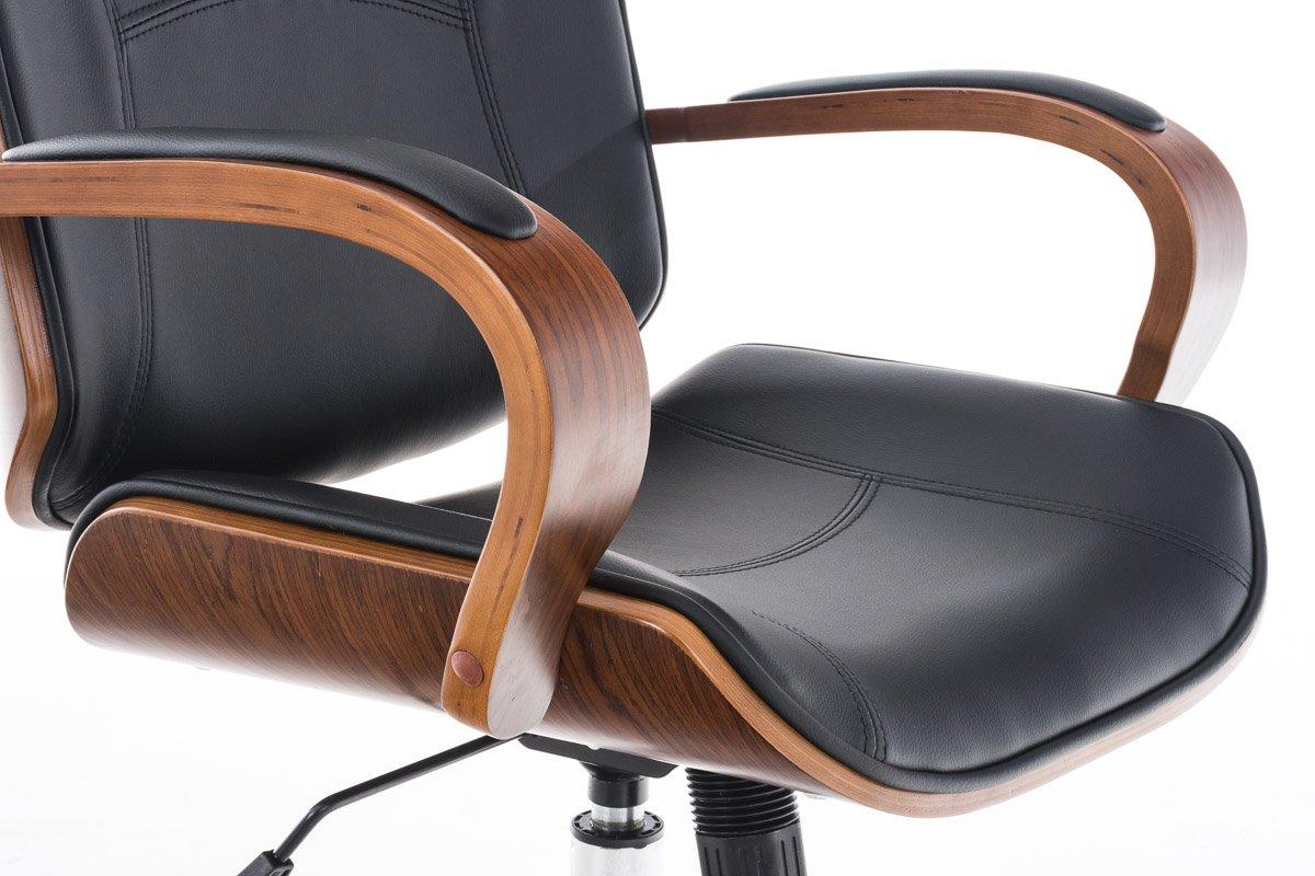 Poltrona da ufficio in legno noce e similpelle colore nero