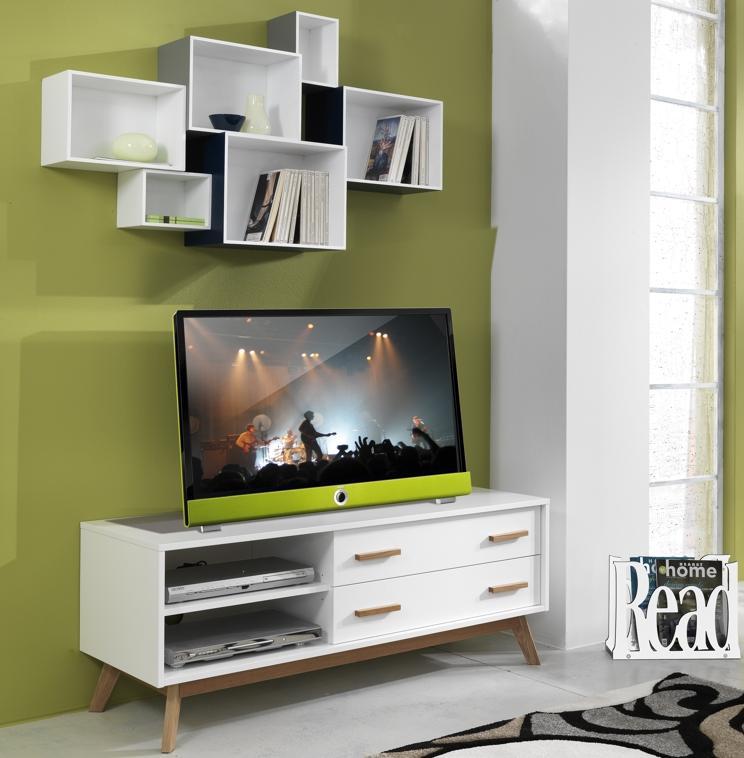 Porta tv decoder e consolle con 4 ante bicolore - Consolle porta tv ...