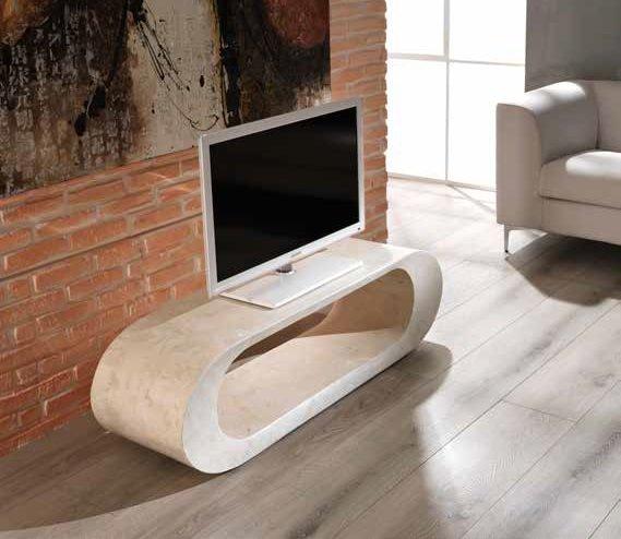 Porta Tv Mobile Basso in Pietra Fossile colore chiaro