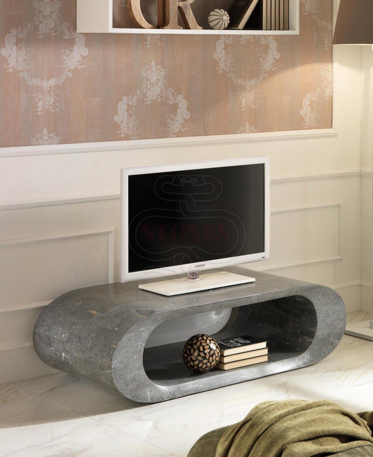 Porta Tv Mobile Basso in Pietra Fossile colore grigio