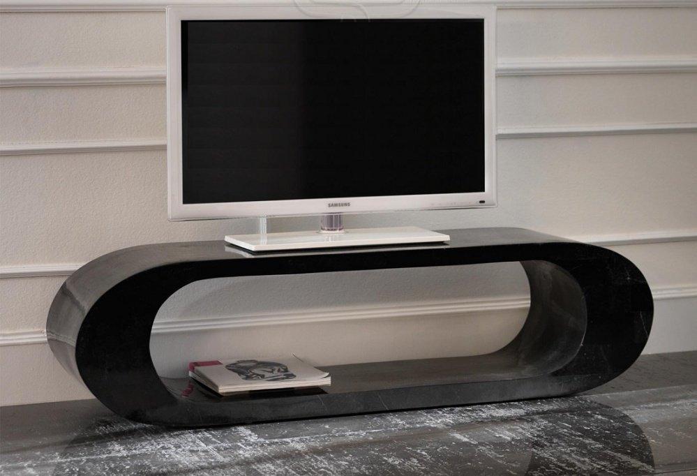 Porta tv mobile basso in pietra fossile colore nero - Porta tv nero ...